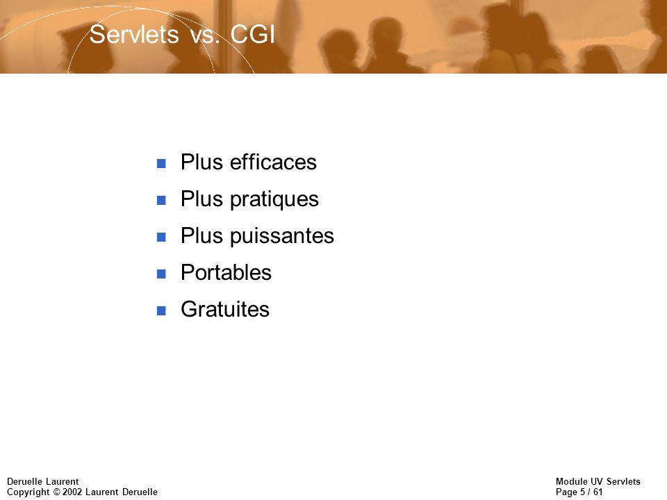 Servlets vs. CGI Plus efficaces Plus pratiques Plus puissantes