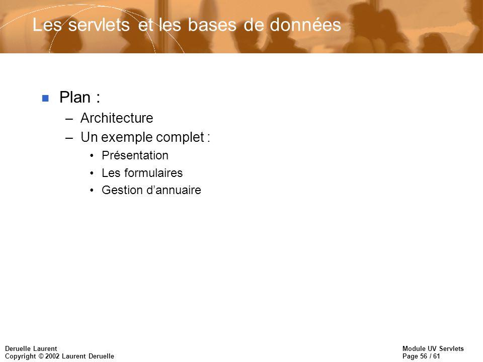 Les servlets et les bases de données