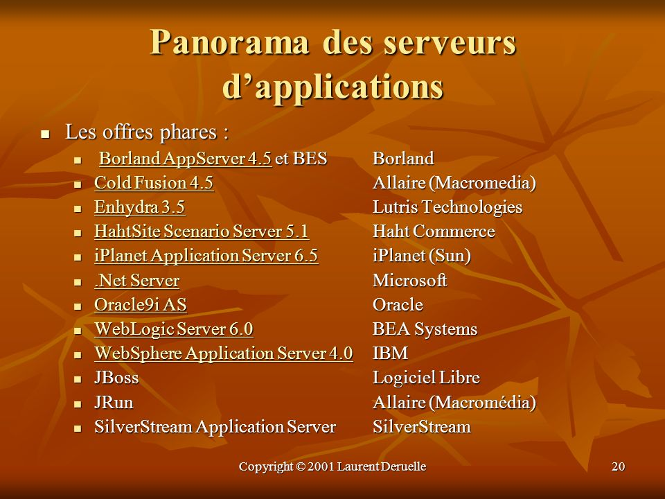 Panorama des serveurs d'applications
