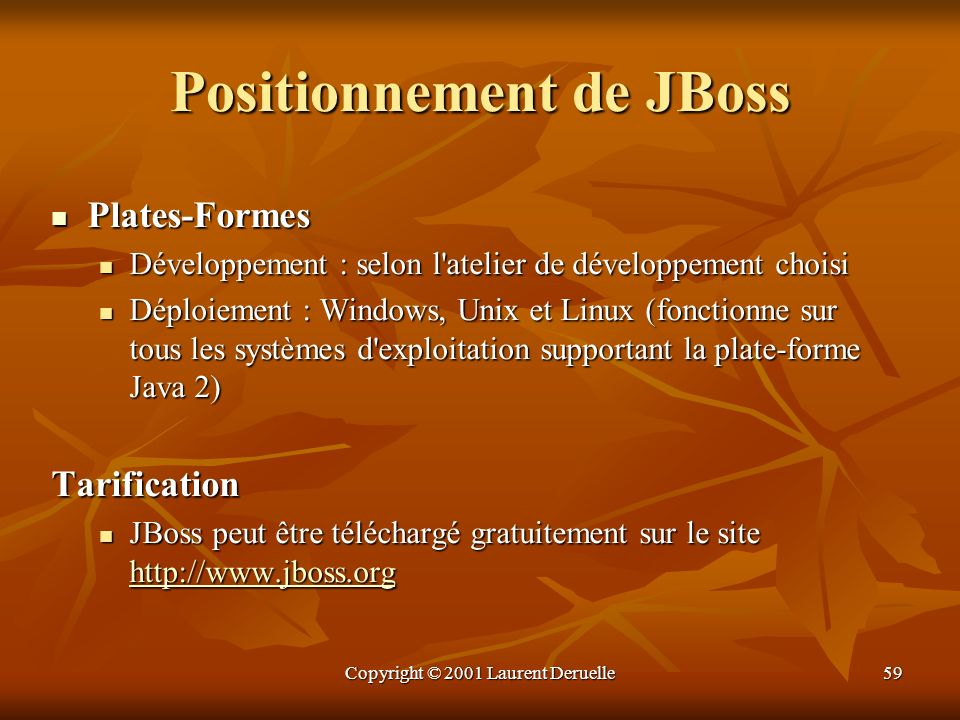 Positionnement de JBoss