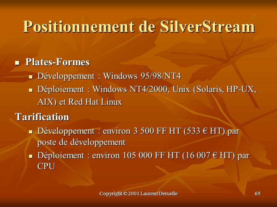Positionnement de SilverStream