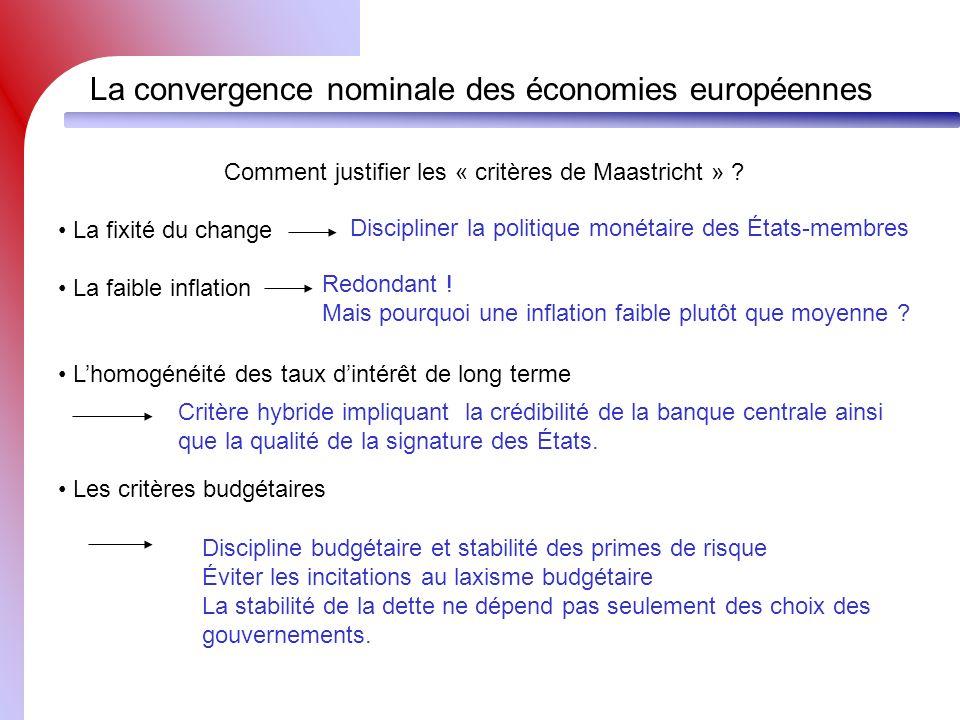 Comment justifier les « critères de Maastricht »