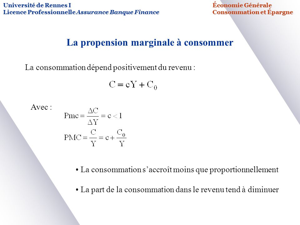 La propension marginale à consommer