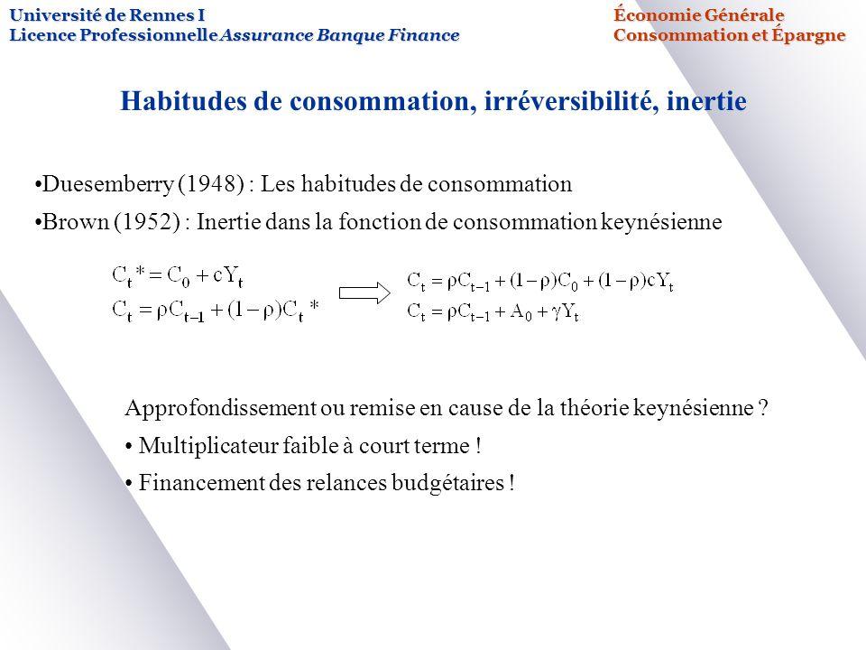 Habitudes de consommation, irréversibilité, inertie