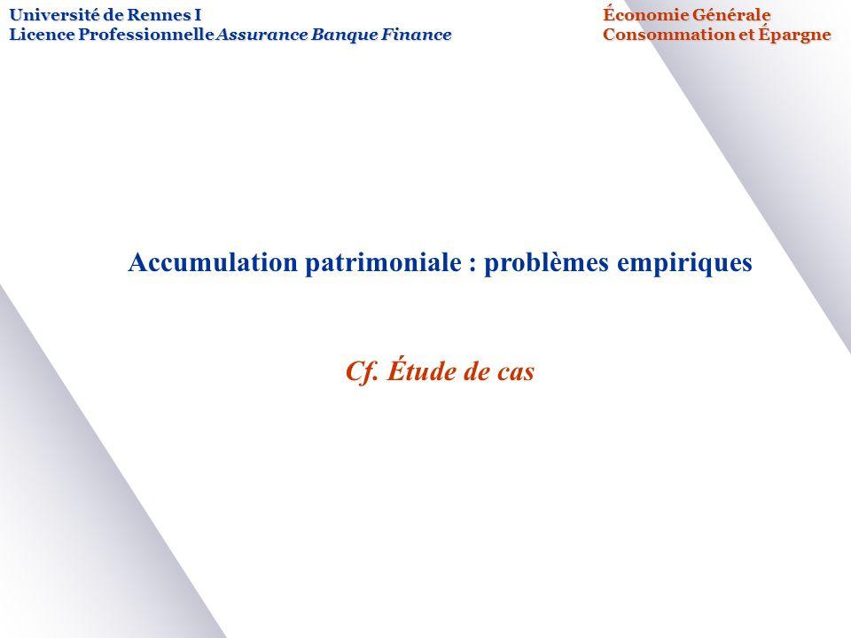 Accumulation patrimoniale : problèmes empiriques