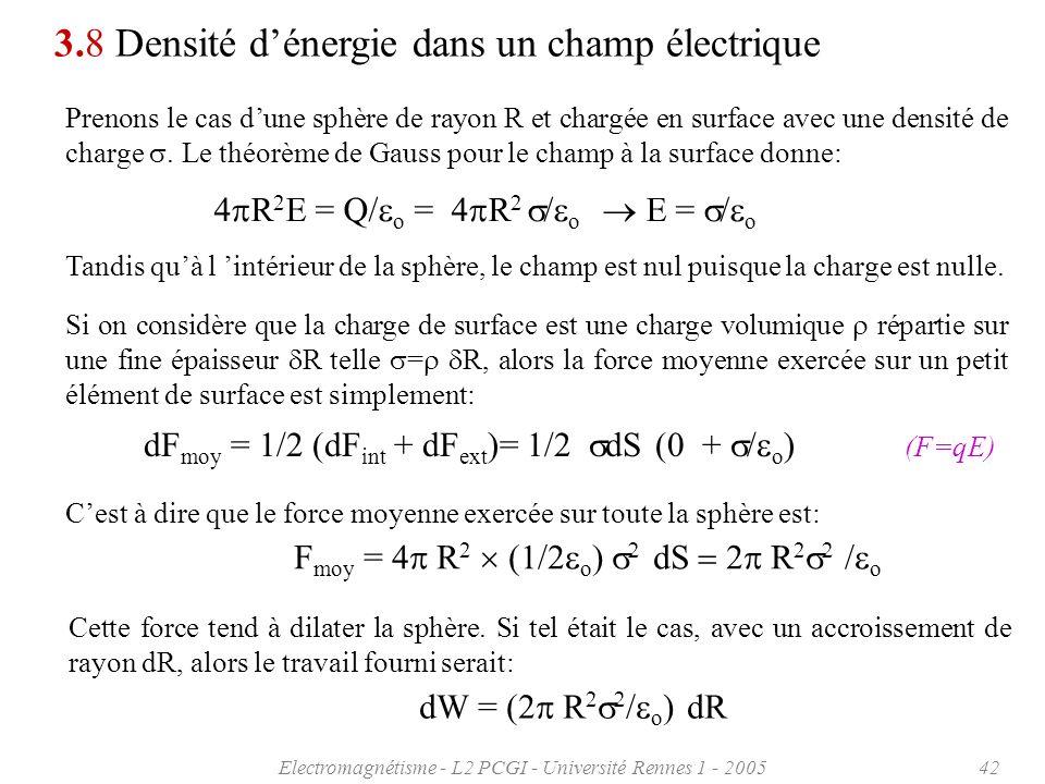 3.8 Densité d'énergie dans un champ électrique