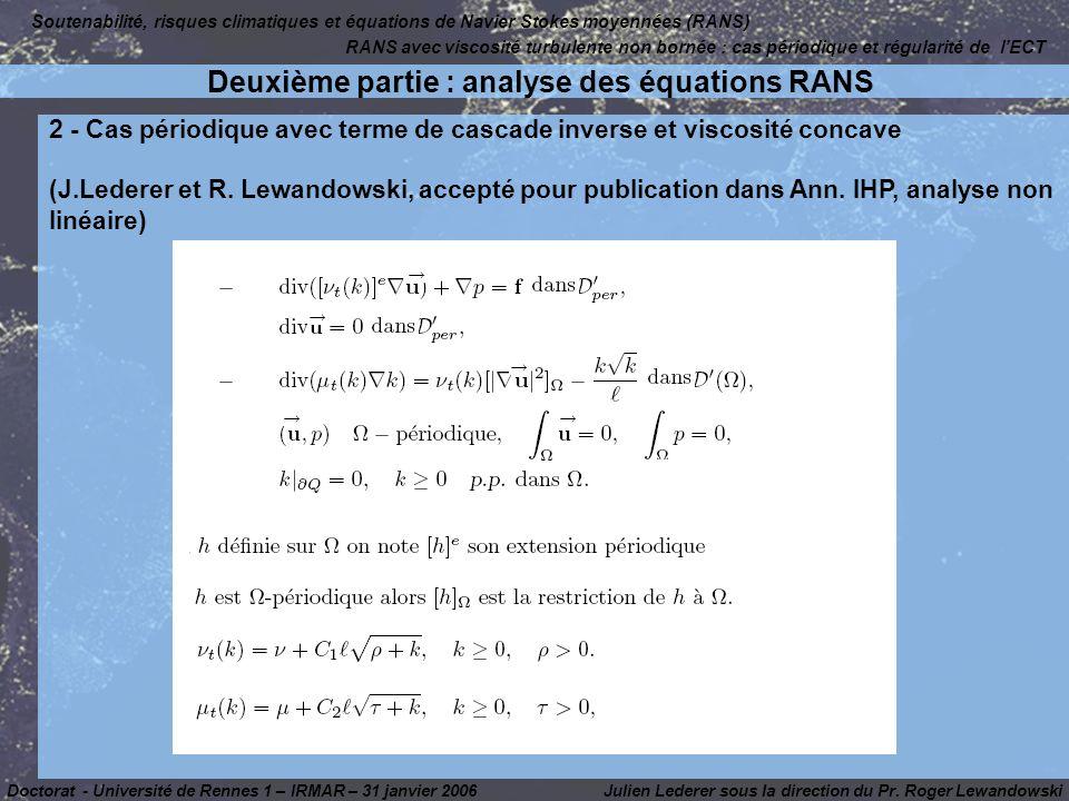 Deuxième partie : analyse des équations RANS