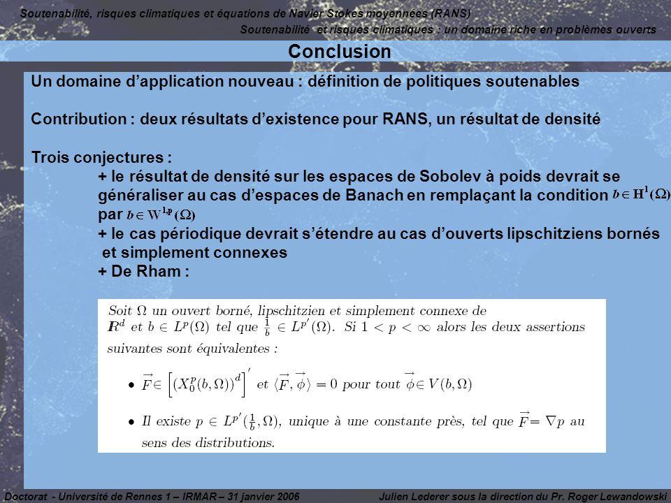 Soutenabilité, risques climatiques et équations de Navier Stokes moyennées (RANS)