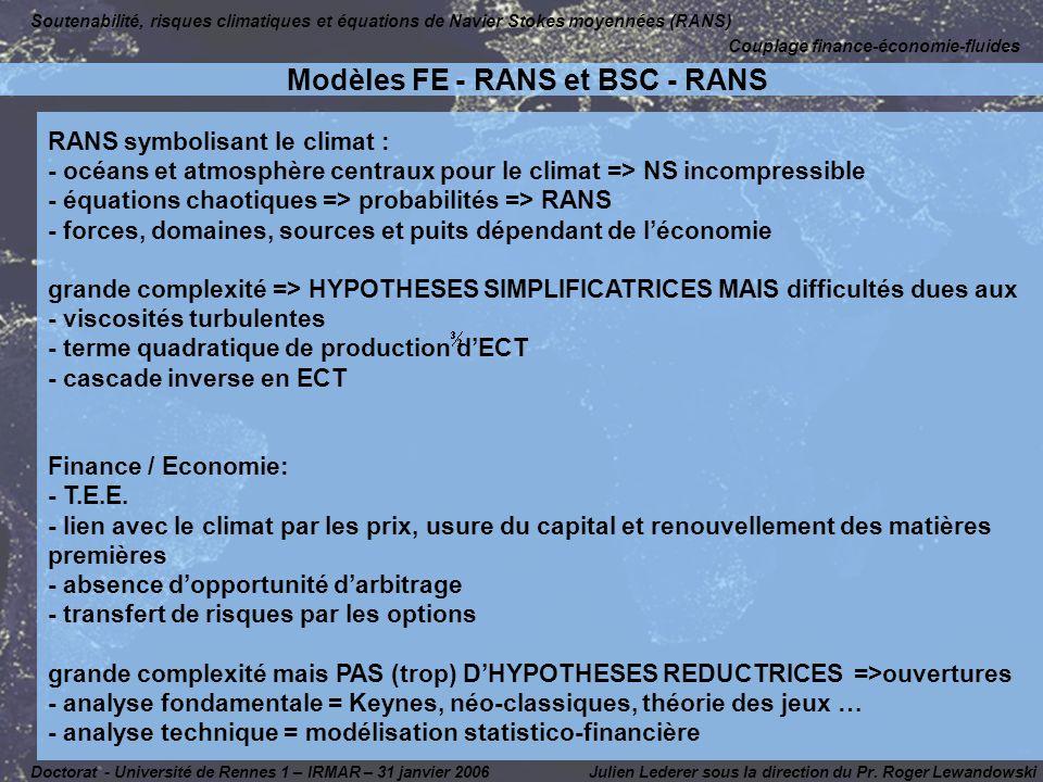 Modèles FE - RANS et BSC - RANS