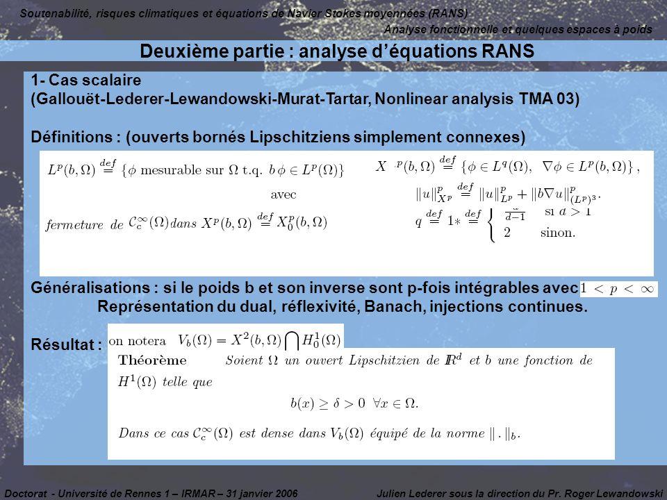 Deuxième partie : analyse d'équations RANS