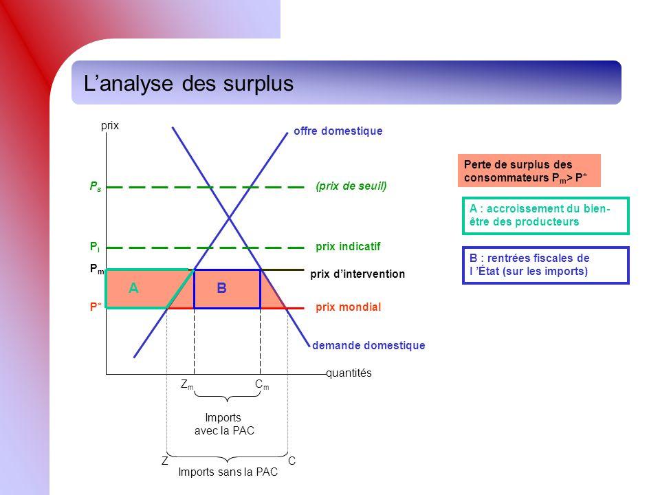 L'analyse des surplus B A prix quantités demande domestique