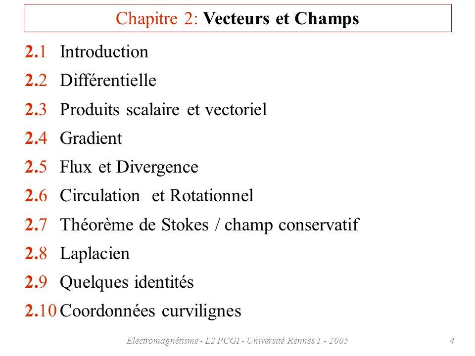 Chapitre 2: Vecteurs et Champs