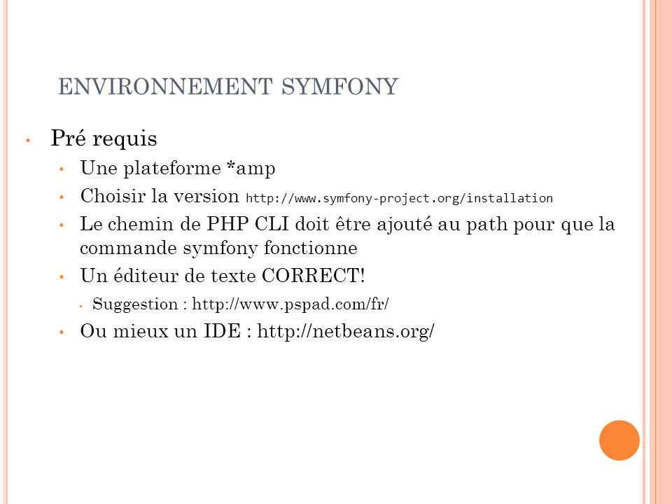 environnement symfony
