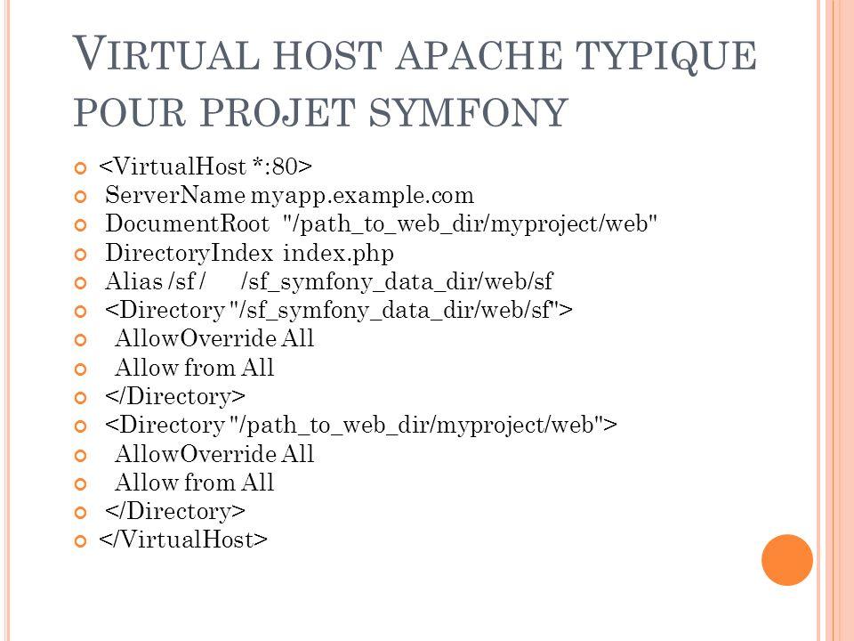 Virtual host apache typique pour projet symfony