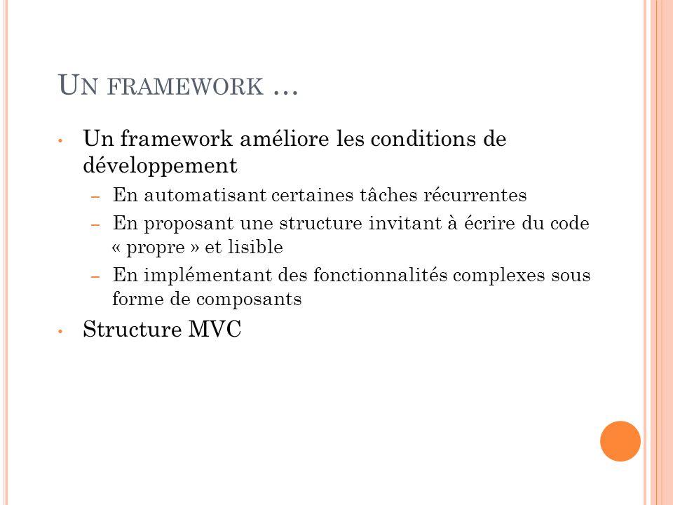 Un framework … Un framework améliore les conditions de développement