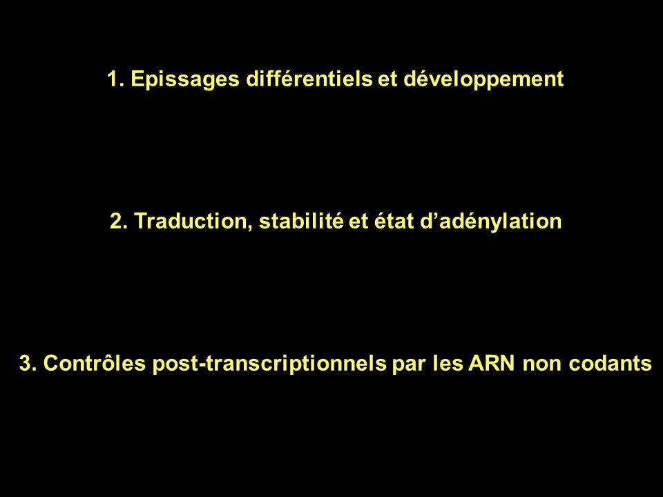 1. Epissages différentiels et développement