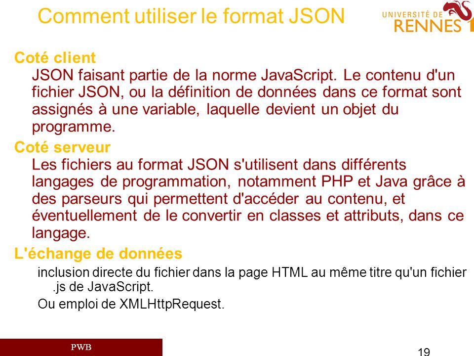 Comment utiliser le format JSON