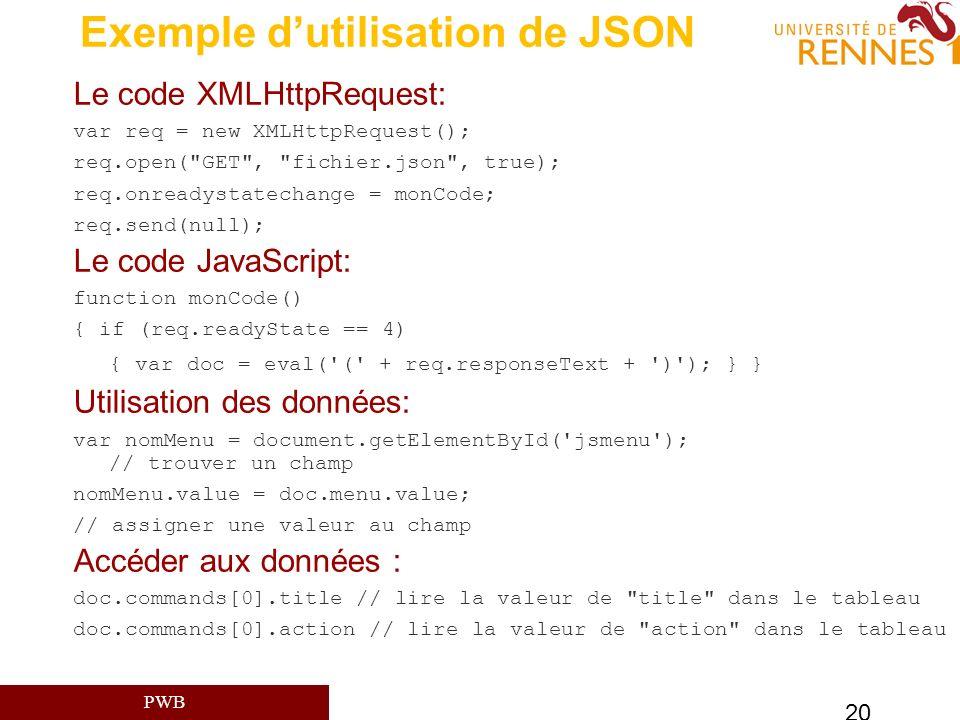 Exemple d'utilisation de JSON