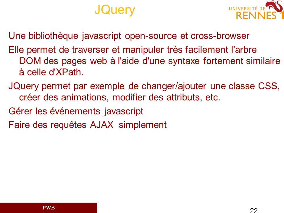 JQuery Une bibliothèque javascript open-source et cross-browser