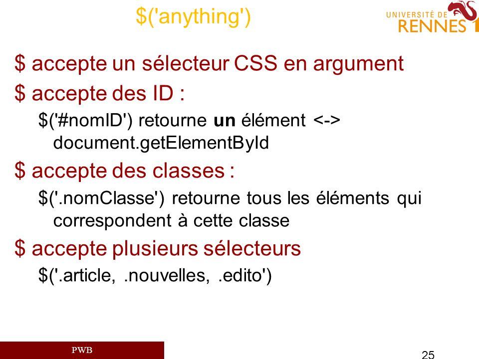 $ accepte un sélecteur CSS en argument $ accepte des ID :