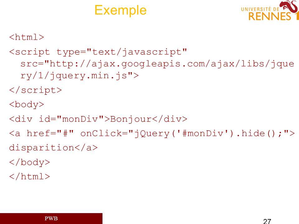 Exemple <html> <script type= text/javascript src= http://ajax.googleapis.com/ajax/libs/jque ry/1/jquery.min.js >