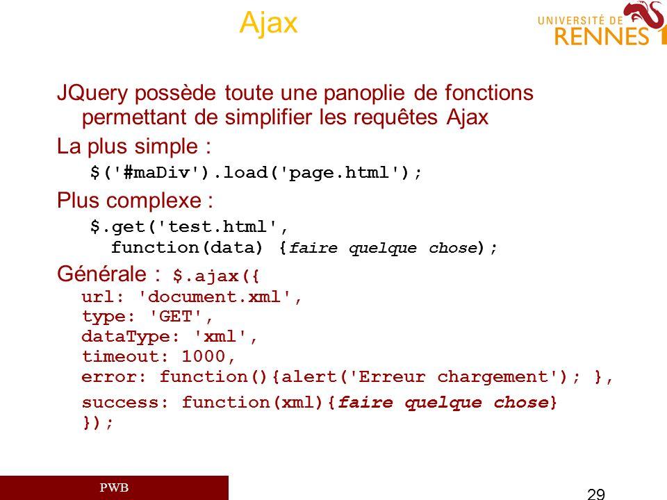 Ajax JQuery possède toute une panoplie de fonctions permettant de simplifier les requêtes Ajax. La plus simple :