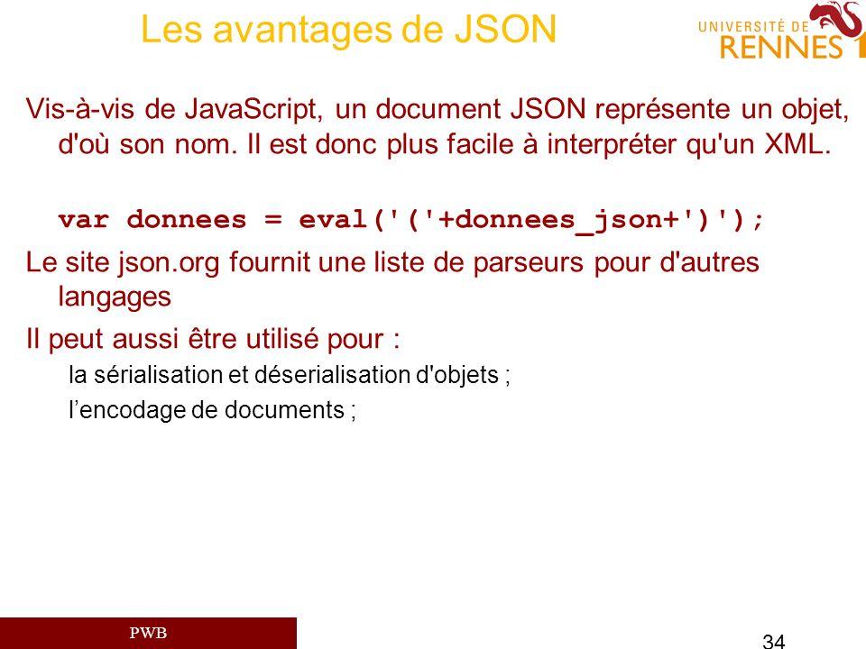 Les avantages de JSON Vis-à-vis de JavaScript, un document JSON représente un objet, d où son nom. Il est donc plus facile à interpréter qu un XML.