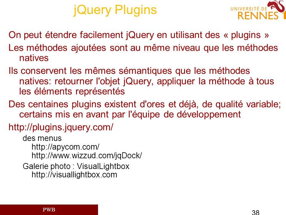 jQuery Plugins On peut étendre facilement jQuery en utilisant des « plugins » Les méthodes ajoutées sont au même niveau que les méthodes natives.