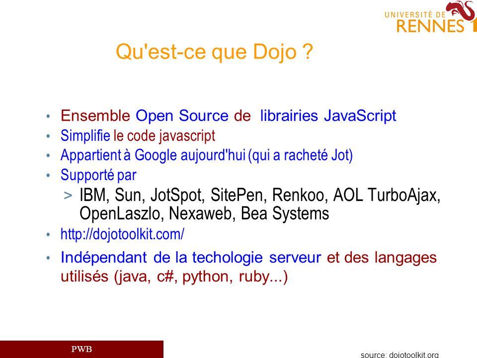 Qu est-ce que Dojo Ensemble Open Source de librairies JavaScript. Simplifie le code javascript.