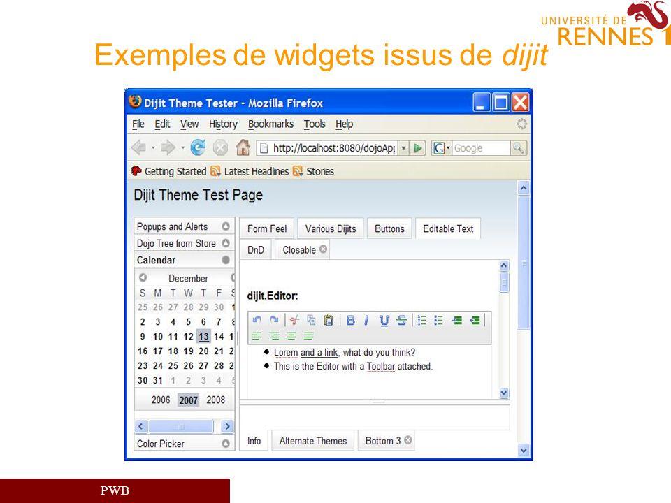 Exemples de widgets issus de dijit