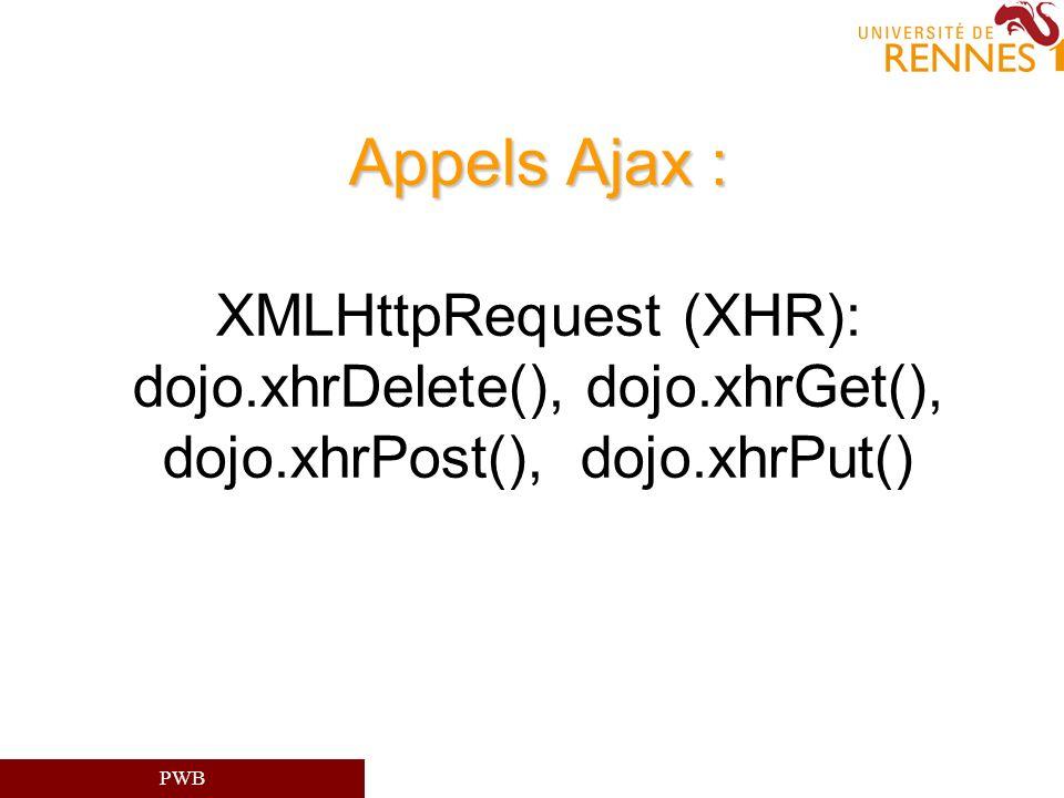 Appels Ajax : XMLHttpRequest (XHR): dojo. xhrDelete(), dojo