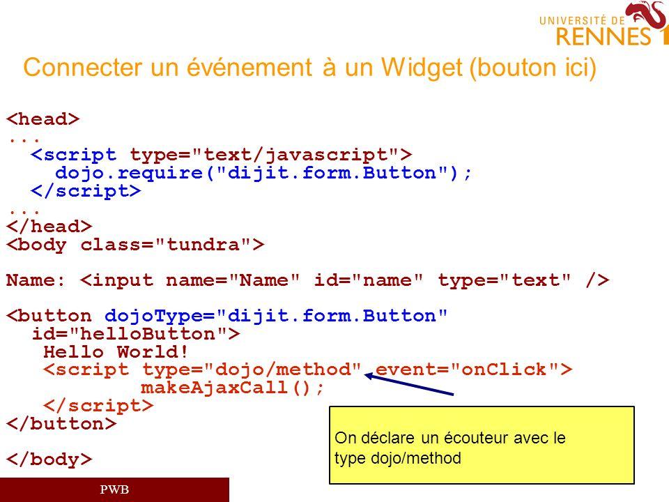 Connecter un événement à un Widget (bouton ici)