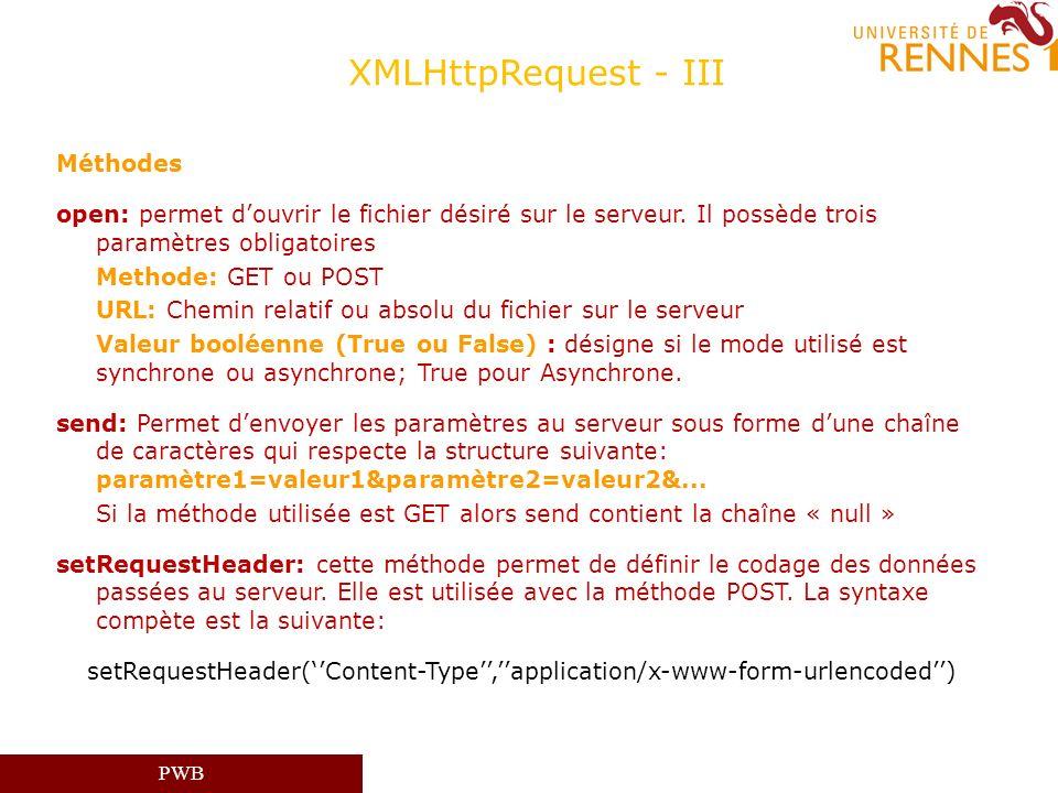 XMLHttpRequest - III Méthodes