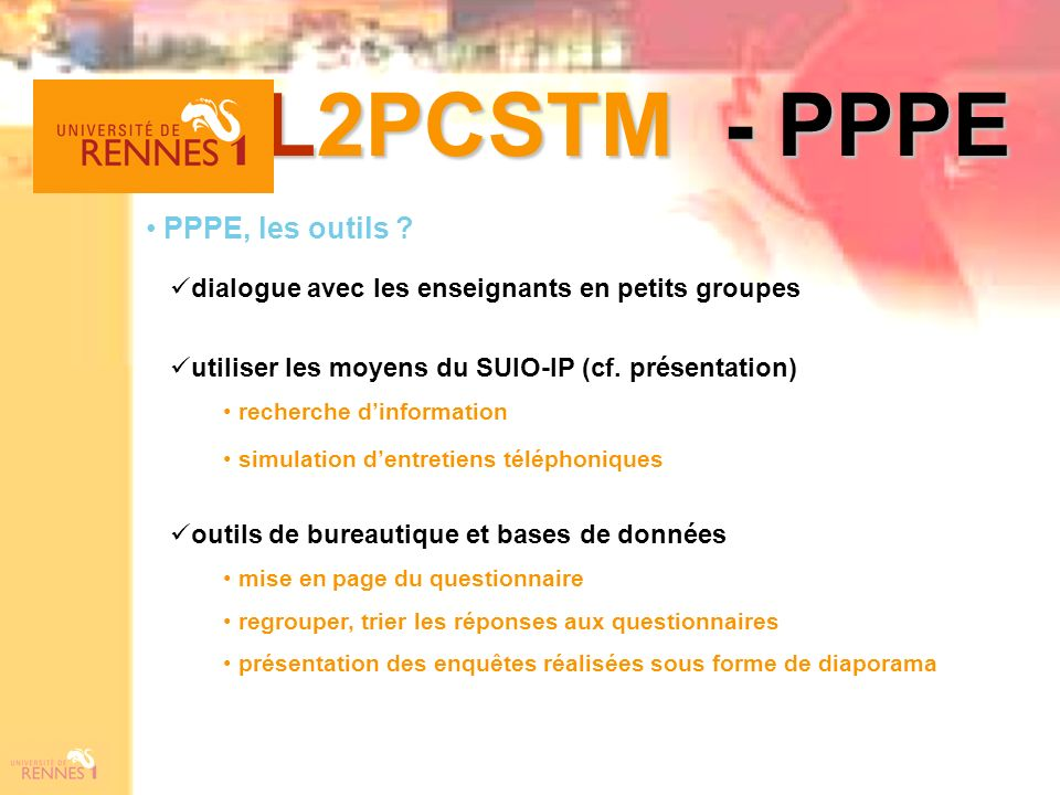 L2PCSTM - PPPE PPPE, les outils