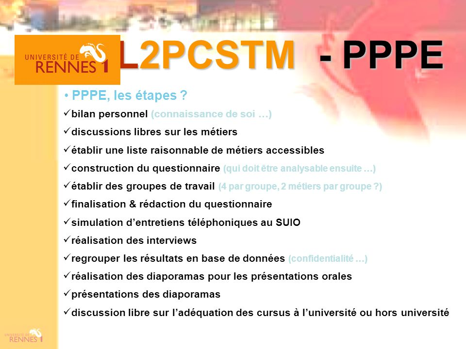 L2PCSTM - PPPE PPPE, les étapes