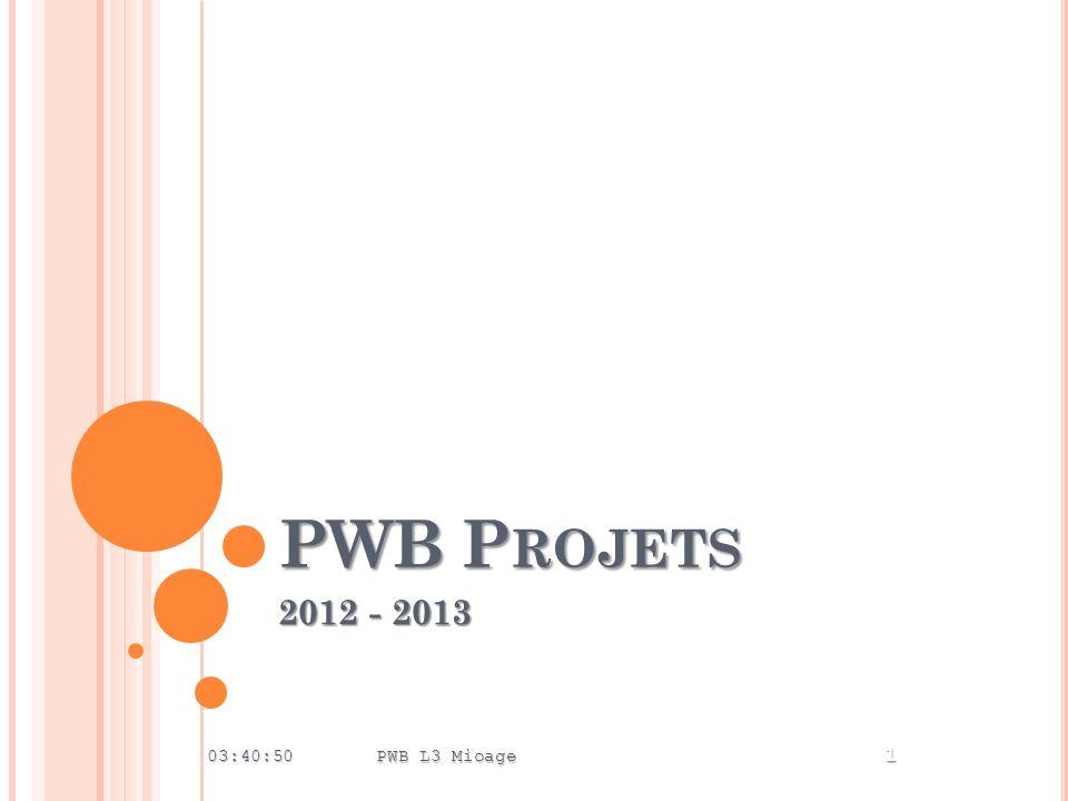 PWB Projets 2012 - 2013 00:24:28 PWB L3 Mioage