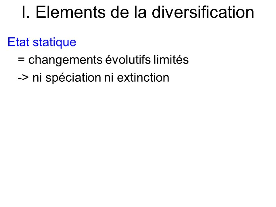 I. Elements de la diversification