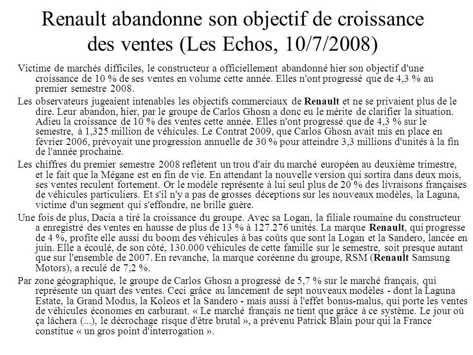 Renault abandonne son objectif de croissance des ventes (Les Echos, 10/7/2008)