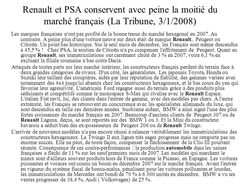 Renault et PSA conservent avec peine la moitié du marché français (La Tribune, 3/1/2008)