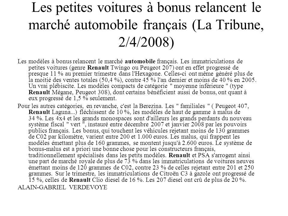 Les petites voitures à bonus relancent le marché automobile français (La Tribune, 2/4/2008)