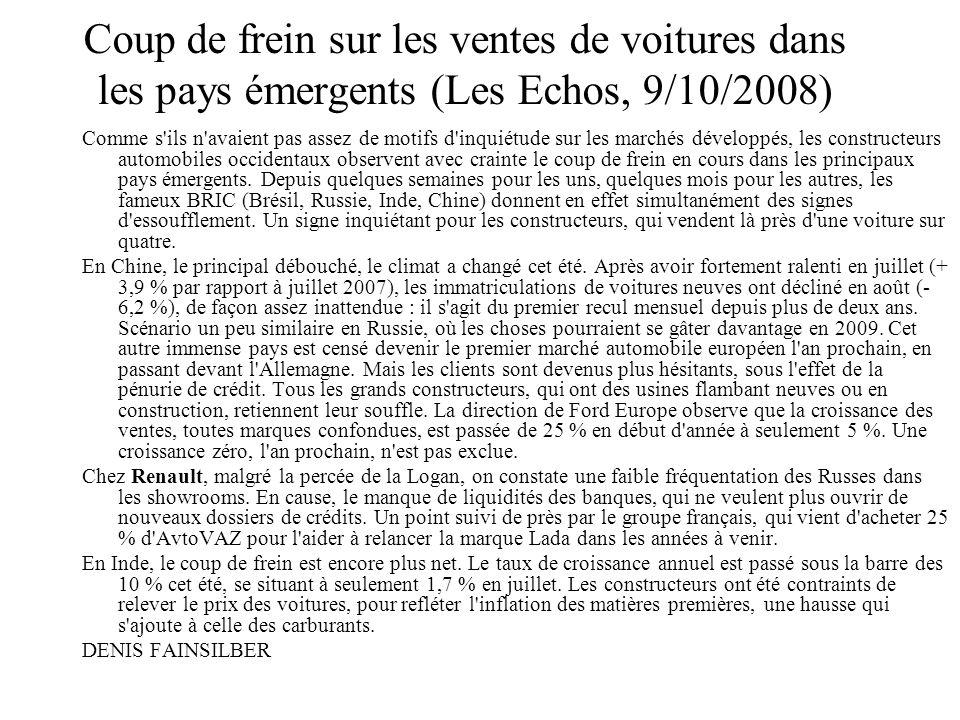 Coup de frein sur les ventes de voitures dans les pays émergents (Les Echos, 9/10/2008)