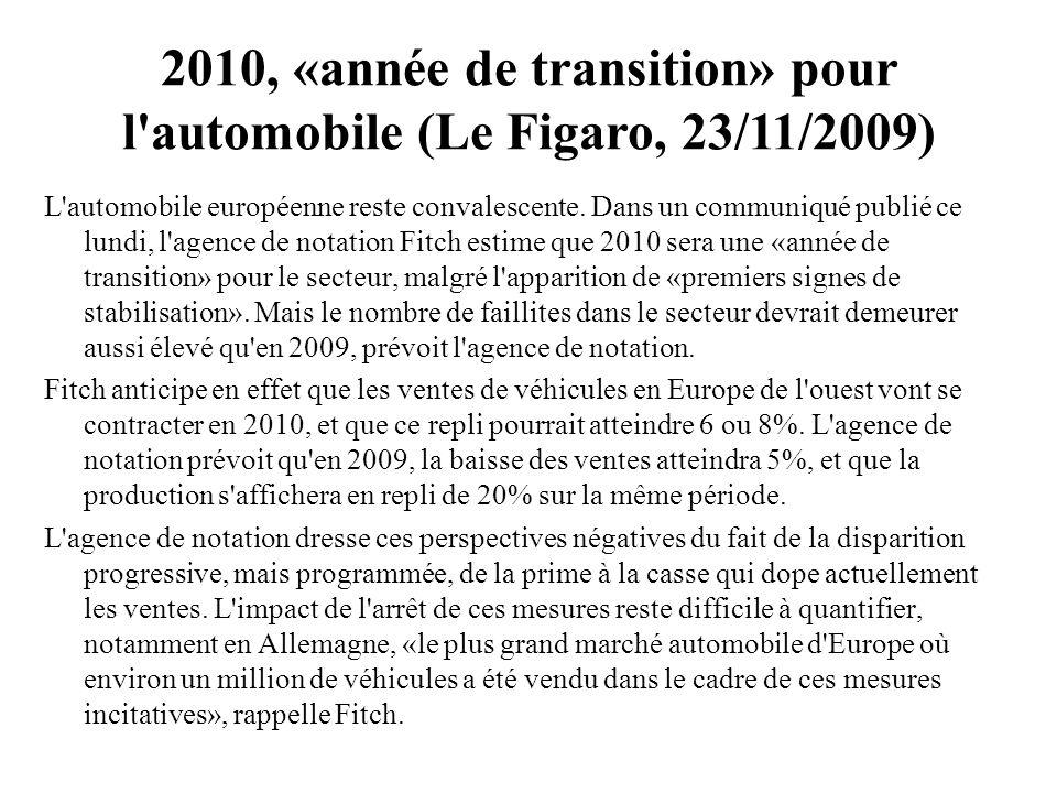 2010, «année de transition» pour l automobile (Le Figaro, 23/11/2009)