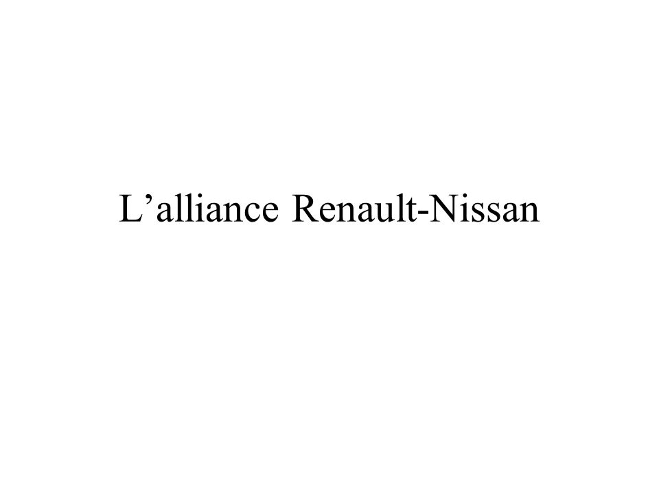 L'alliance Renault-Nissan
