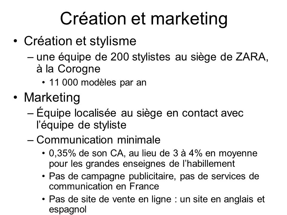 Création et marketing Création et stylisme Marketing