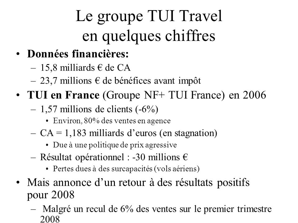 Le groupe TUI Travel en quelques chiffres