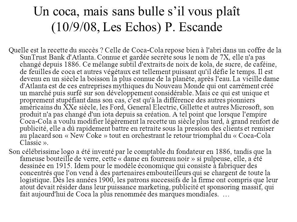 Un coca, mais sans bulle s'il vous plaît (10/9/08, Les Echos) P