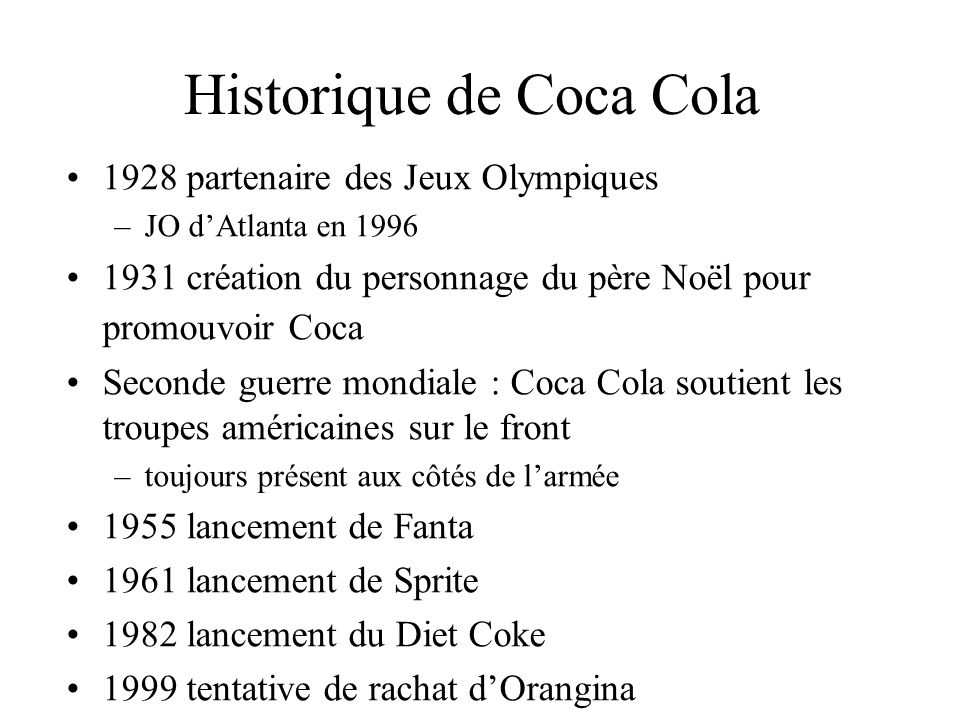 Historique de Coca Cola