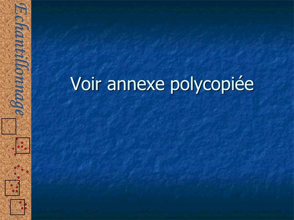 Voir annexe polycopiée