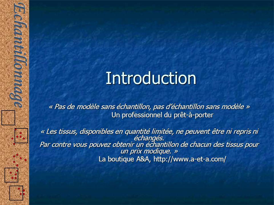 Introduction « Pas de modèle sans échantillon, pas d'échantillon sans modèle » Un professionnel du prêt-à-porter.