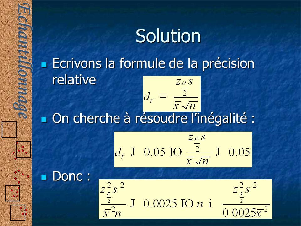 Solution Ecrivons la formule de la précision relative